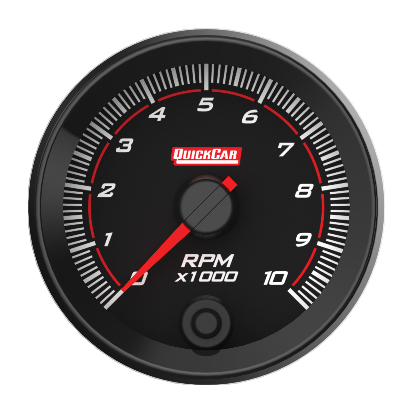 Quickcar Racing Products 69-001 Tachometer, Redline, Single Recall, 10000 RPM, Electric, Analog, 2-5/8 in Diameter, Memory, Black Face, Each