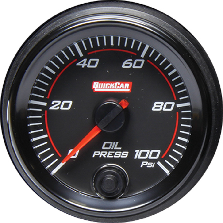 Quickcar Racing Products 69-003 Oil Pressure Gauge, Redline, 0-100 psi, Electric, Analog, 2-5/8 in Diameter, Black Face, Each