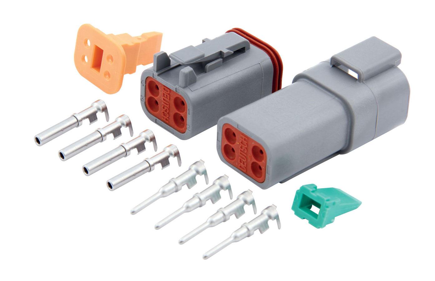 QuickCar 71-342 Electrical Connector, Deutsch Connector, 4 Pin, Housings / Pins / Seals / Wedge Locks, Kit