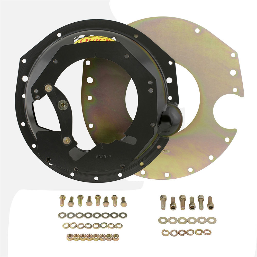 Quick Time RM-6023PB Bellhousing, Block Plate, Hardware Included, SFI 6.1, Steel, Black Paint, GM LS-Series T56 Transmission, Chevy V8, Kit