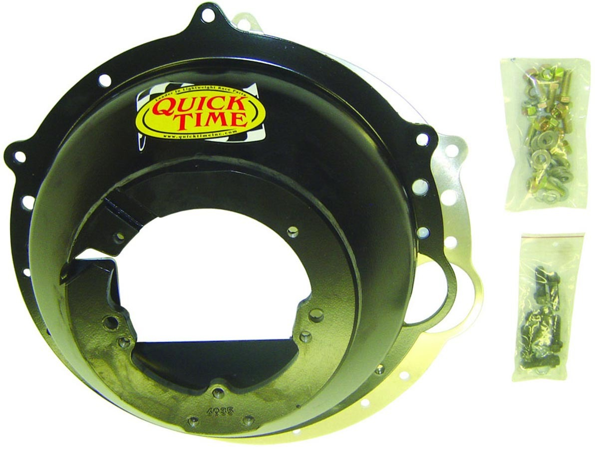 Quick Time RM-6035 Bellhousing, Block Plate, Hardware Included, SFI 6.1, Steel, Black Paint, T56 Transmission, GM LS-Series, Kit
