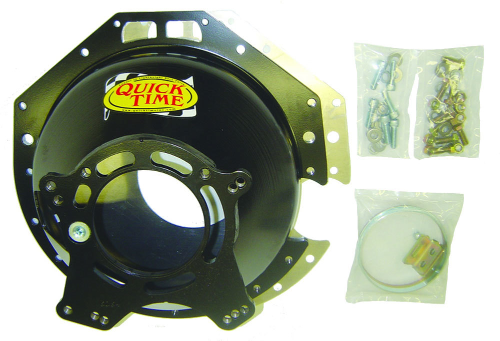 Quick Time RM-6064 Bellhousing, Block Plate, Hardware Included, SFI 6.1, Steel, Black Paint, Ford TKO 500-600 / TR3550 / T5, Chevy V8, Kit