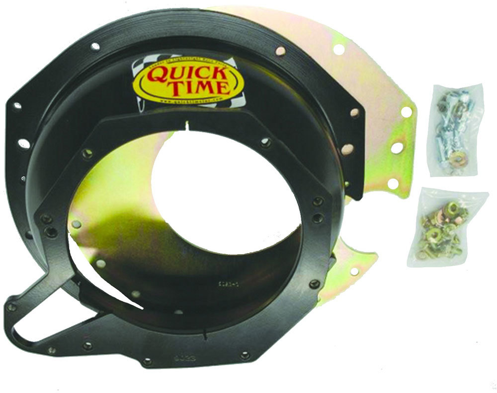 Quick Time RM-9023 Bellhousing, Block Plate, Hardware Included, SFI 6.1, Steel, Black Paint, GM LT T56, Small Block Chevy, Kit