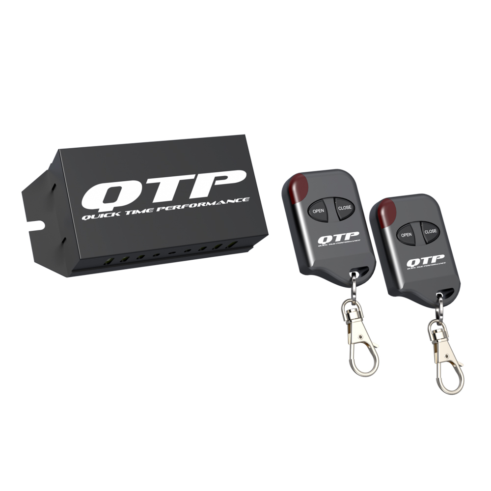 Quick Time Performance 10900 Exhaust Cut-Out Remote Kit, Wireless, Receiver / Two Key Fobs, Variable Opening, Quicktime Performance Electric Exhaust Cut-Out, Black, Kit