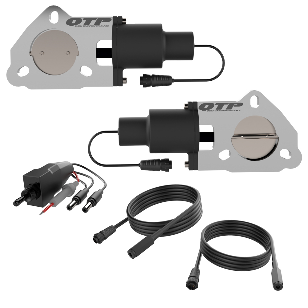 Quick Time Performance QTEC50 Exhaust Cut-Out, Electric, Bolt-On, Dual, 3-Bolt, 2-1/2 in Pipe Diameter, Switch / Wiring Harness, Aluminum / Stainless, Natural, Kit