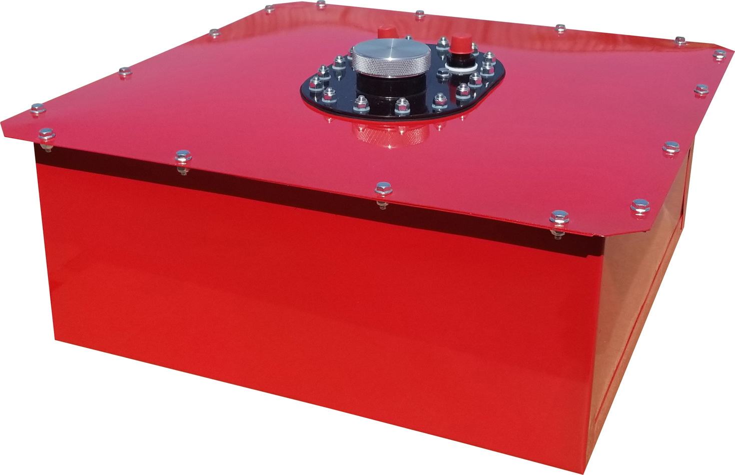RCI 1082C Fuel Cell and Can, Circle Track, 8 gal, 19 x 19 x 8 in Tall, 8 AN Male Outlet, 8 AN Male Vent, Steel / Plastic, Red, Each