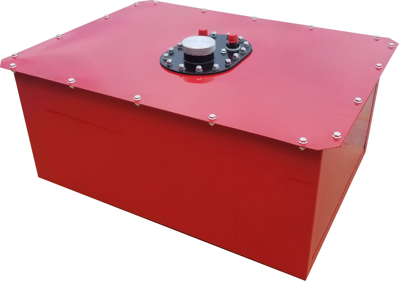 RCI 1162C Fuel Cell and Can, Circle Track, 16 gal, 25 x 19 x 11 in Tall, 8 AN Male Outlet, 8 AN Male Vent, Steel / Plastic, Red, Each