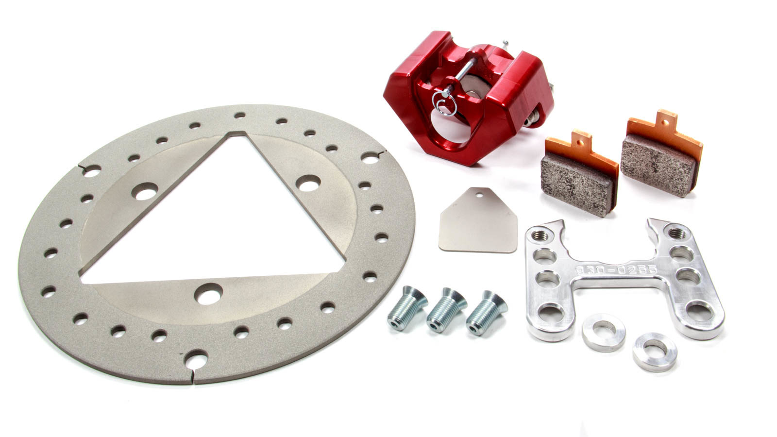 Red Devil-Ultra Lite Brakes 410-7200 Brake System, 100 Series, Front, 1 Piston Caliper, 10.000 in Drilled Solid Titanium Rotor, Red Anodize, Sprint Car Spindle, Kit