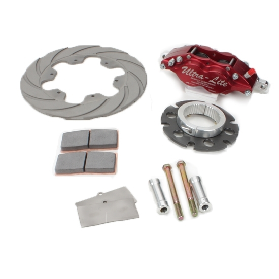 Red Devil-Ultra Lite Brakes 410-8113 Brake System, Feather Lite, Rear, 4 Piston Caliper, 10.400 in Scalloped Titanium Rotor, 3 x 46 Spline Sprint Car Hub, Red Anodize, Kit