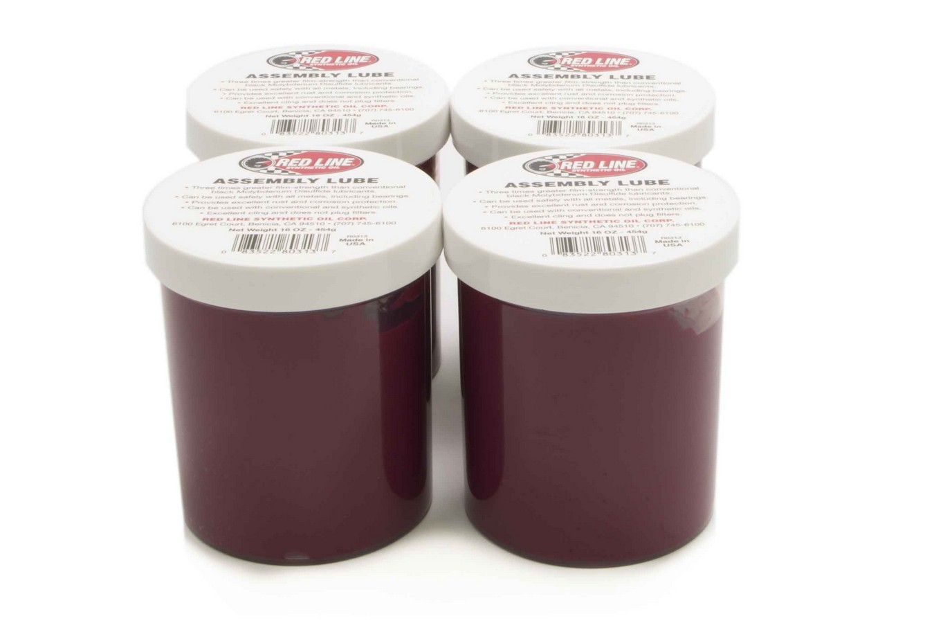 Redline Oil 80323 Assembly Lubricant, Synthetic, 1 lb Tub, Set of 4