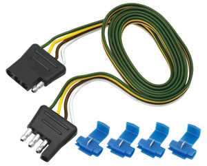 Reese 118045 Trailer Plug Adapter, 4-Flat Plug to 4-Flat Connector, 60 in Long, Wire Taps, Each