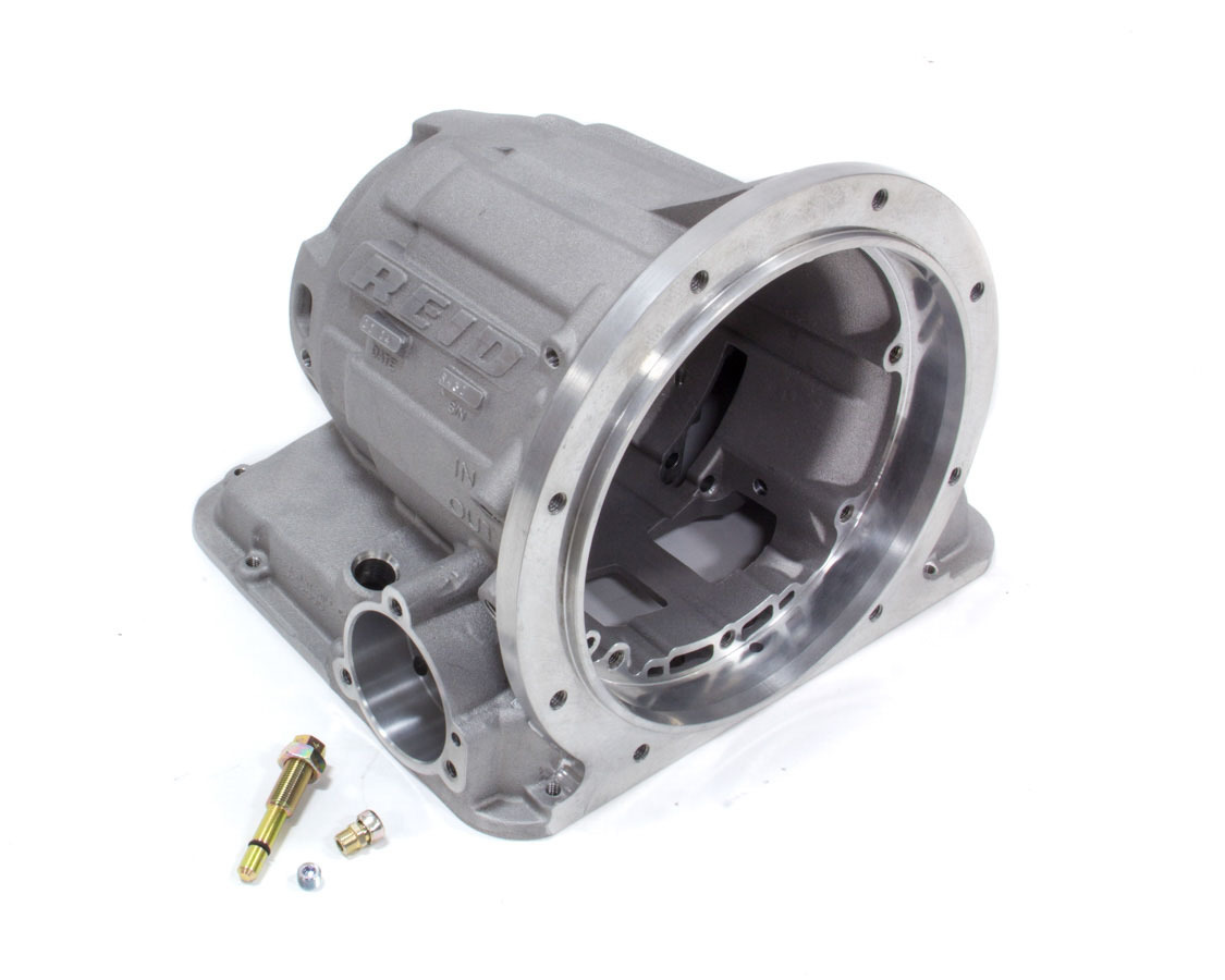 Reid Racing PG2000R Transmission Case, Superglide, SFI 4.1, 2 Piece, Roller Bearing Included, Aluminum, Natural, Powerglide, Each