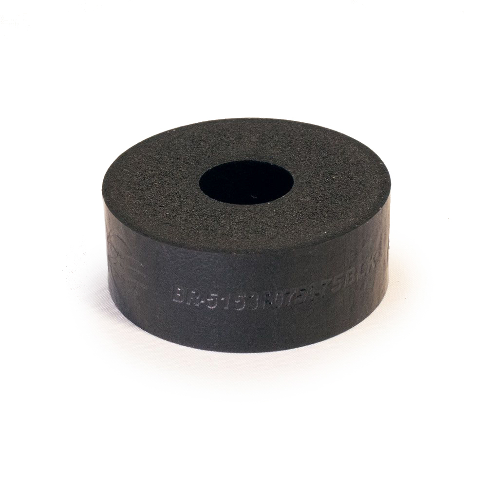 RE Suspension RE-BR-5150F-0750-75B Bump Stop Puck, 5150, 2 in OD, 1/2 in ID, 3/4 in Tall, 75 Durometer, Foam, Black, Each