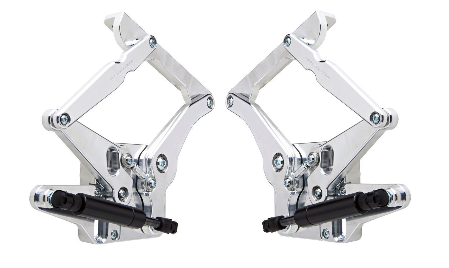 65-66 Mustang Hood Hinge Kit Solid Arm Natrl Stl
