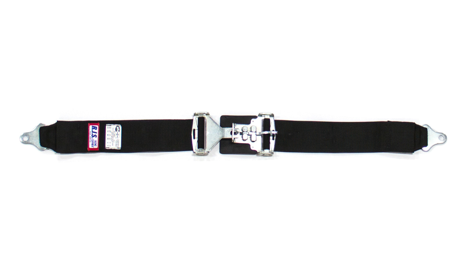 RJS Safety 15001901 Lap Harness, Latch and Link, SFI 16.1, 64 in Length, 3 in Width, Pull Down Adjust, Bolt-On, Black, Each