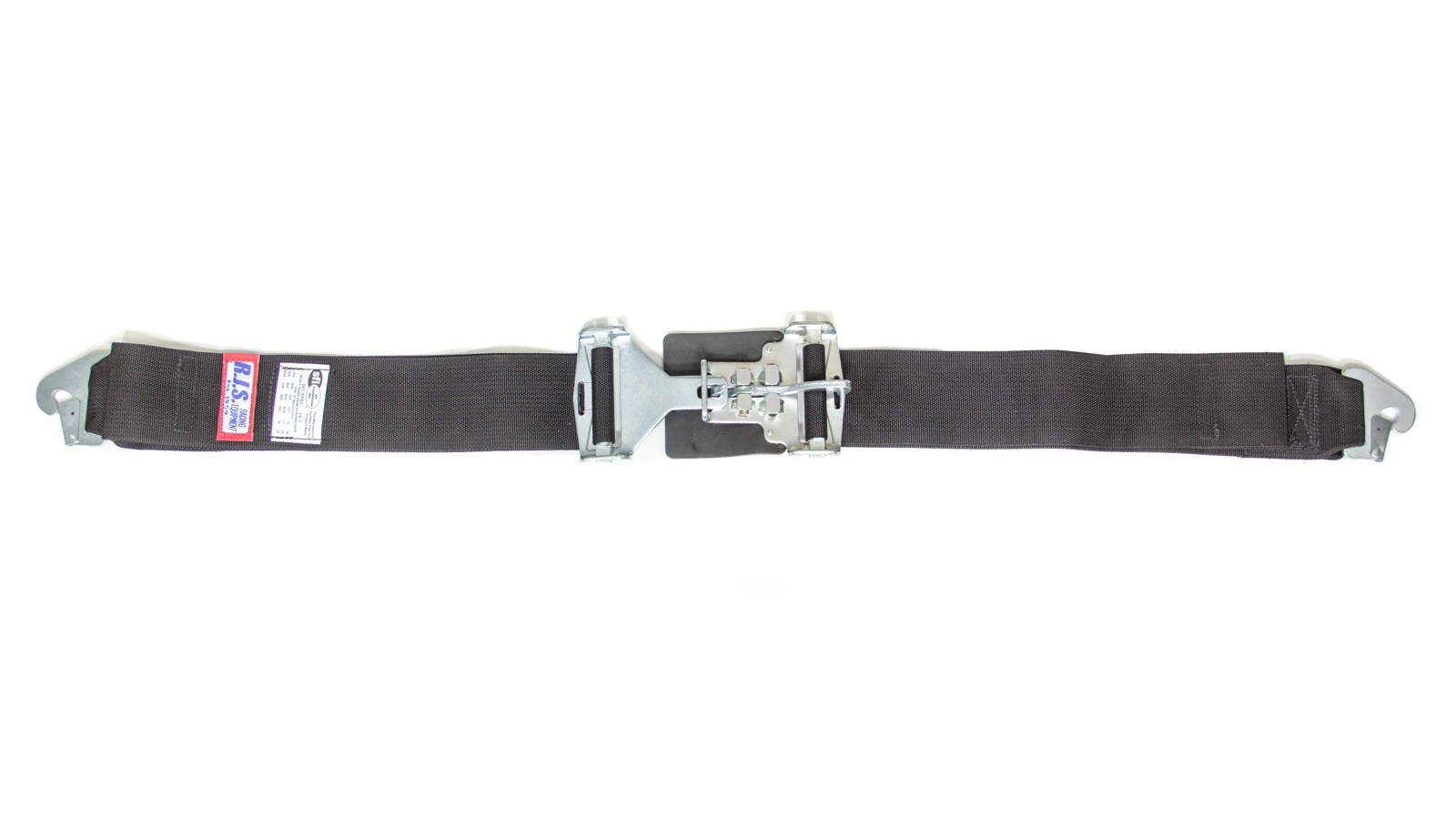RJS Safety 15002001 Lap Harness, Latch and Link, SFI 16.1, 64 in Length, 3 in Width, Pull Down Adjust, Snap Ends, Black, Each