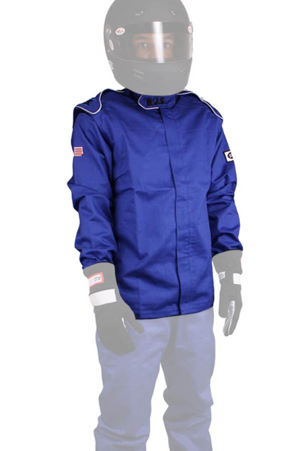 RJS Safety 200400304 Jacket, Driving, Elite Series, SFI 3.2A/1, Single Layer, Fire Retardant Cotton, Blue, Medium, Each