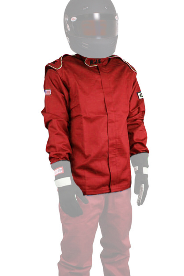 RJS Safety 200400404 Jacket, Driving, Elite Series, SFI 3.2A/1, Single Layer, Fire Retardant Cotton, Red, Medium, Each
