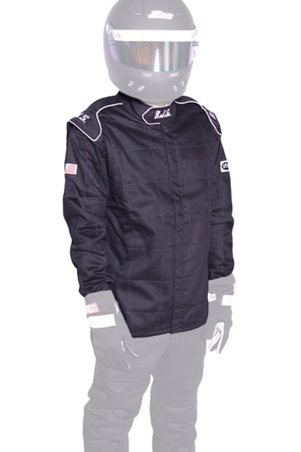 RJS Safety 200430105 Jacket, Driving, Elite Series, SFI 3.2A/5, Double Layer, Fire Retardant Cotton, Black, Large, Each