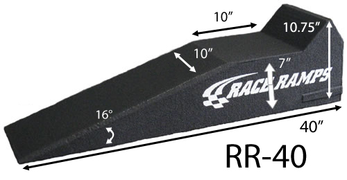 Race Ramps RR-40 Sport Ramp, 7 in Lift Height, 40 in Long, 10 in Wide, 16 Degree Incline, 3000 lb Capacity, 1 Piece design, Pair