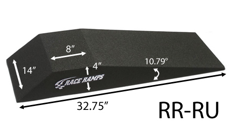 Race Ramps RR-RU Roll Up Ramp, 4 in Lift Height, 32.75 in Long, 14 in Wide, 10.79 degree Incline, Pair