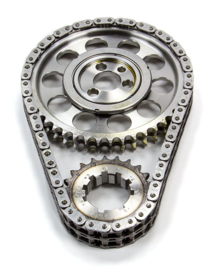 Rollmaster-Romac CS1040-LB5 Timing Chain Set, Red Series, Double Roller, Keyway Adjustable, 0.005 in Shorter, Needle Bearing, Billet Steel, Small Block Chevy, Kit