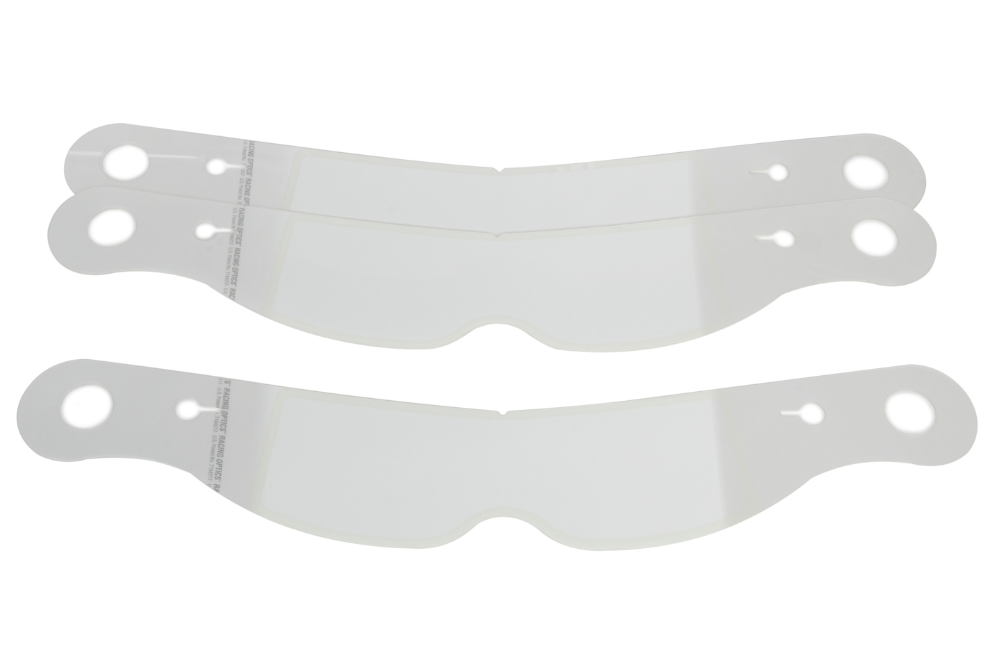 Racing Optics 10231CP Helmet Shield Tear Off, Perimeter Seal, 2 mm Thick, 11-1/2 in Center to Center, Nose Notch, Plastic, Clear, Impact Helmets, Set of 30
