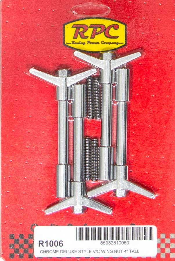 Racing Power Company R1006 Valve Cover Fastener, Stud, 1/4-20 in Thread, 1.375 in Long, Wing Nuts, 4 in Long, Steel, Chrome, Set of 4