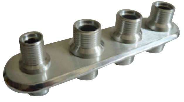 Racing Power Company R1007 Bulkhead Plate, 4 Port, Three 10 AN Male, One 6 AN Male, Billet Aluminum, Polished, Each