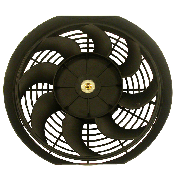 Racing Power Company R1012 Electric Cooling Fan, 12 in Fan, Push / Pull, 1450 CFM, Curved Blade, 11-3/4 x 12-1/2 in, 2-3/4 in Thick, Plastic, Kit