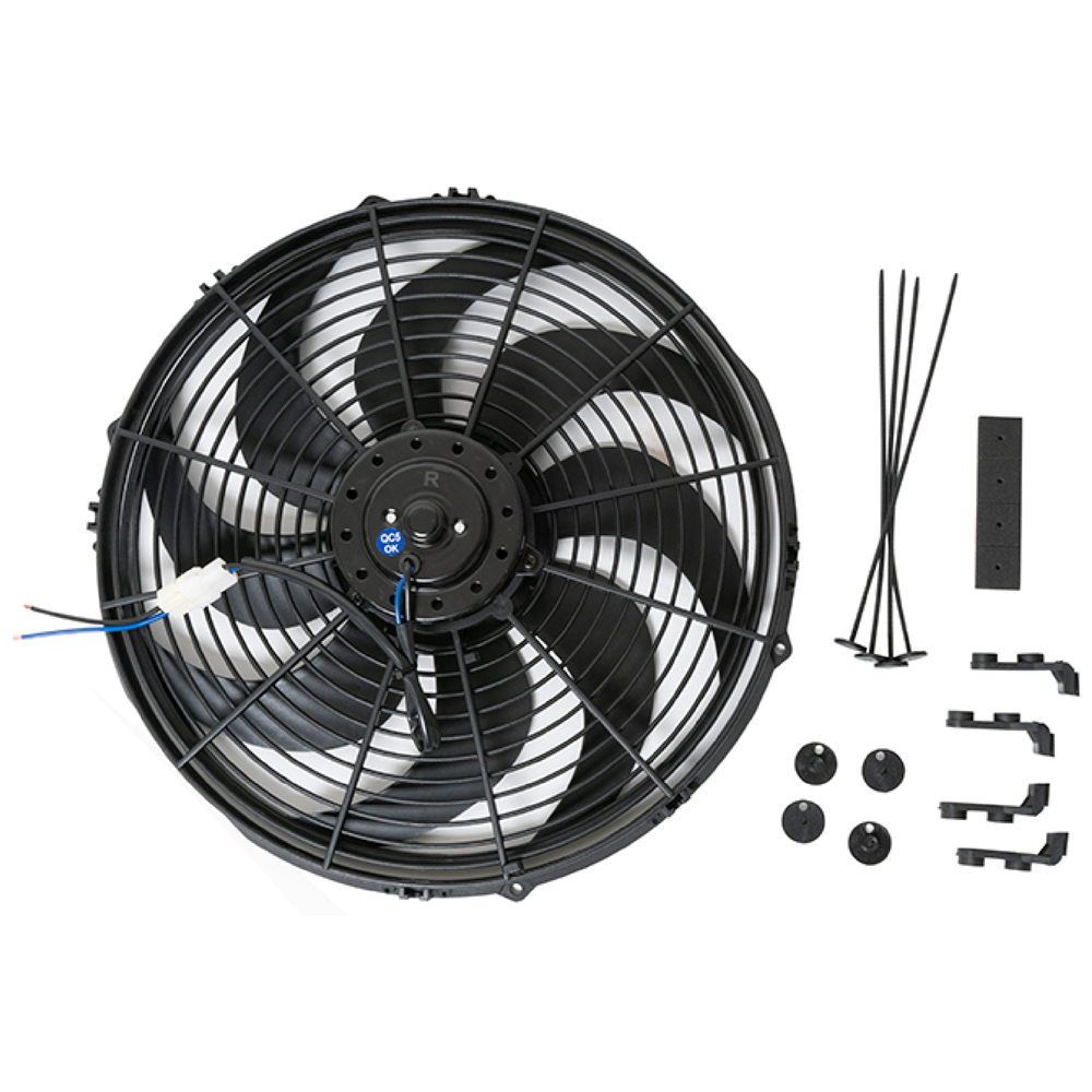 Racing Power Company R1014 Electric Cooling Fan, 14 in Fan, Push / Pull, 2525 CFM, Curved Blade, 14x 15 in, 3 in Thick, Plastic, Kit