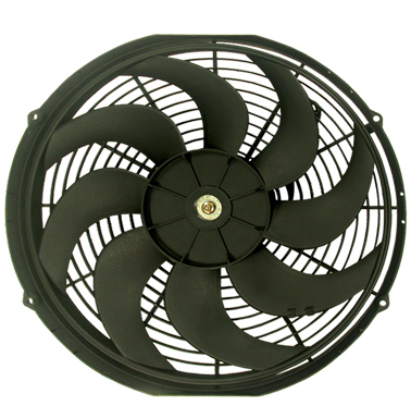 Racing Power Company R1016 Electric Cooling Fan, 16 in Fan, Push / Pull, 2500 CFM, Curved Blade, 15-3/4 x 16-1/4 in, 3 in Thick, Plastic, Kit