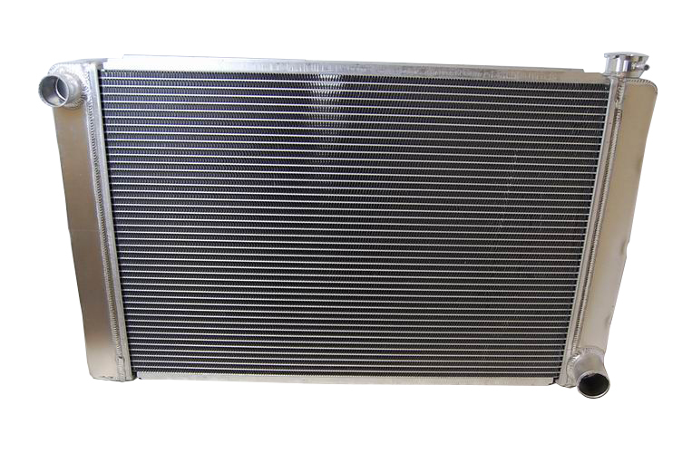 Racing Power Company R1024 Radiator, 31 in W x 19 in H x 3 in D, Driver Side Inlet, Passenger Side Outlet, Aluminum, Natural, Each