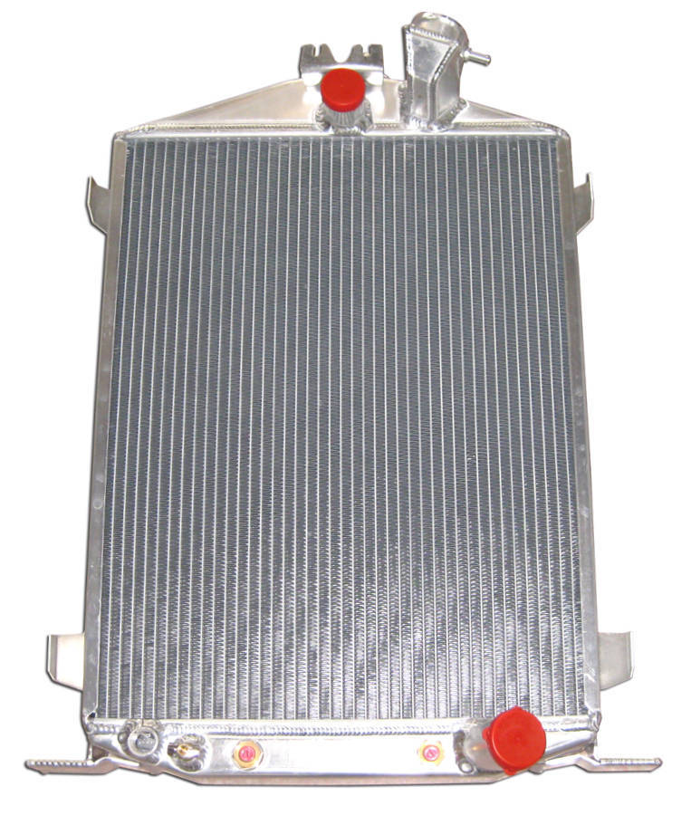 Racing Power Company R1032 Radiator, 16-1/2 in W x 27 in H x 2-1/4 in D, Center Inlet, Passenger Side Outlet, Aluminum, Natural, Each