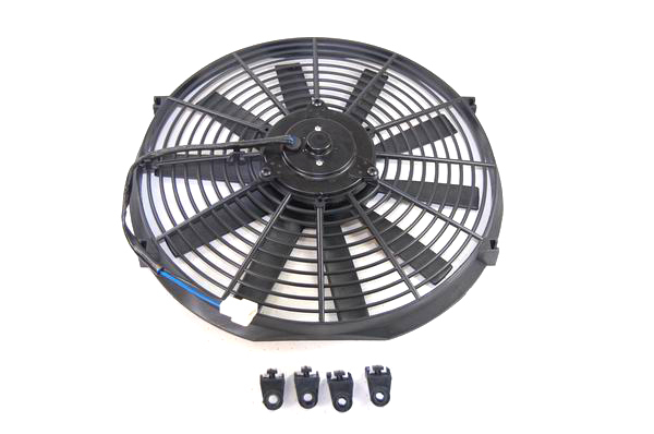Racing Power Company R1204 Electric Cooling Fan, 14 in Fan, Push / Pull, 1105 CFM, 12V, Straight Blade, 14 x 14-3/4 in, 2-1/2 in Thick, Plastic, Kit
