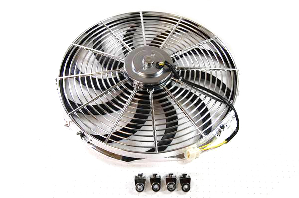 Racing Power Company R1207 Electric Cooling Fan, 16 in Fan, Push / Pull, 2300 CFM, 12V, Curved Blade, 16 x 18 in, 3-1/4 in Thick, Plastic, Kit