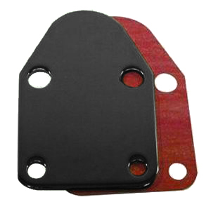 Racing Power Company R2057BK Fuel Pump Blockoff, Gasket Included, Steel, Black Paint, Small Block Chevy, Each