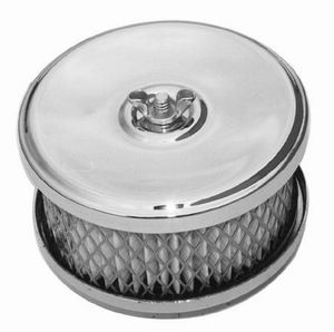 Racing Power Company R2170 Air Cleaner Assembly, Dish Style, 4 in Round, 2 in Element, 2-1/2 in Carb Flange, Flat Base, Steel, Chrome, Kit