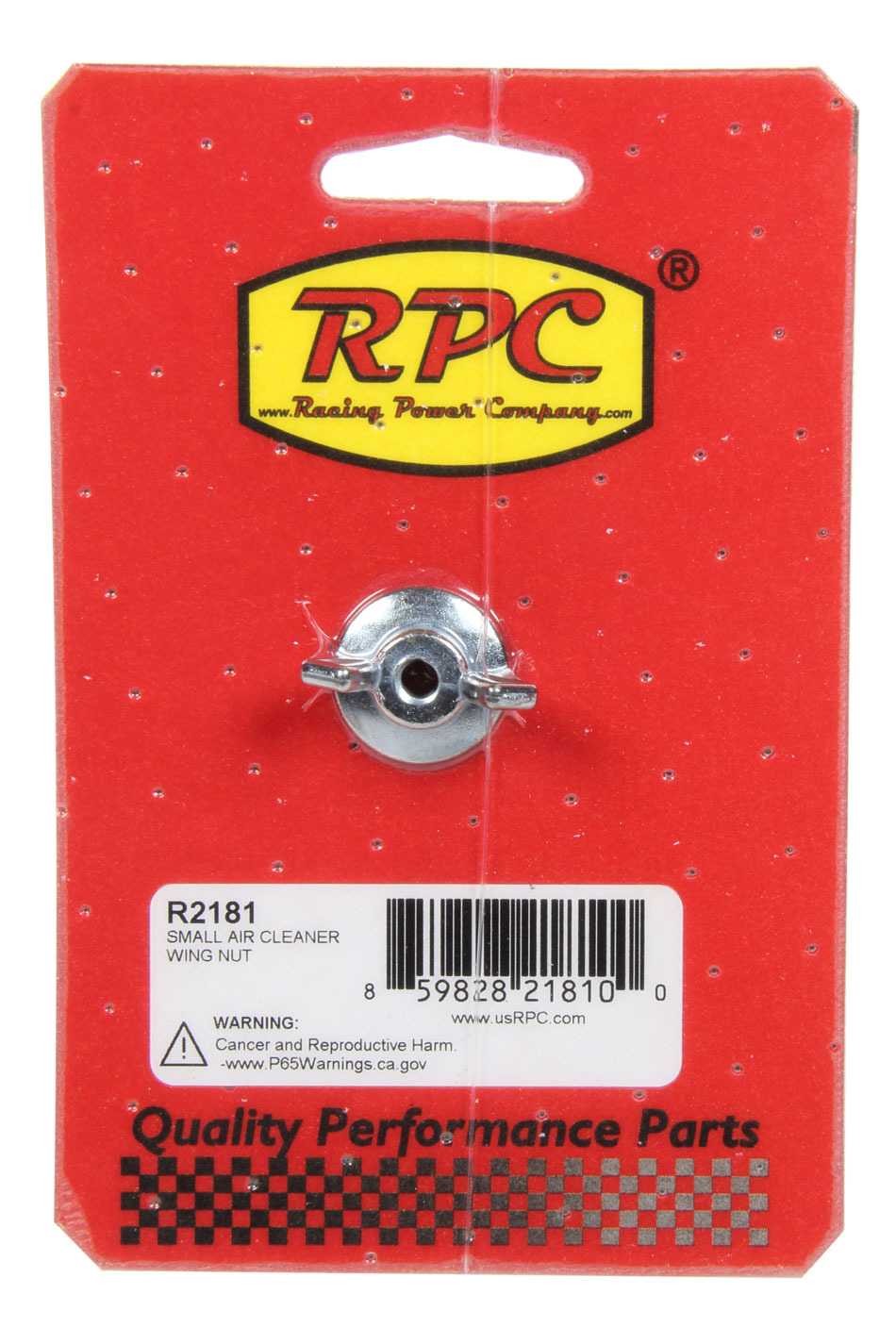 Racing Power Company R2181 Air Cleaner Nut, Small, Wing, 1/4-20 in Thread, Steel, Chrome, Each