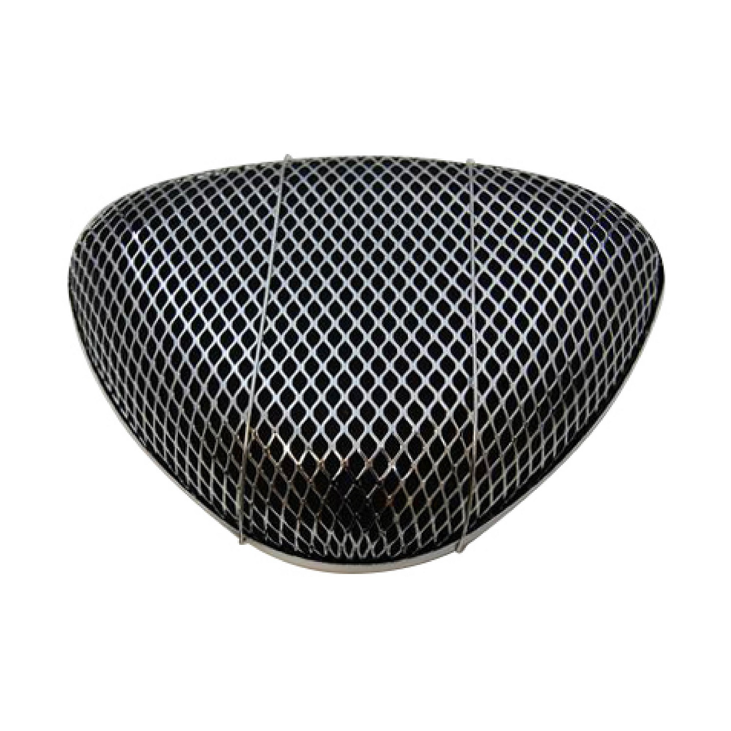 Racing Power Company R2196 Air Cleaner Assembly, Super Flow Open Screen, 11-3/4 x 8-3/4 in Triangle, 3-1/4 in Tall, 5-1/8 in Carb Flange, Raised Base, Steel, Chrome, Kit
