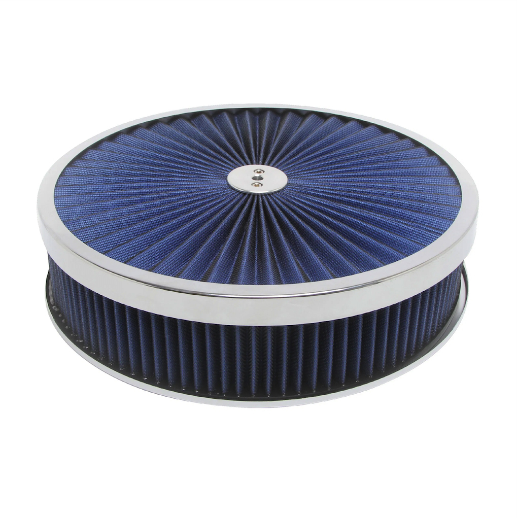 Racing Power Company R2226 Air Cleaner Assembly, Super Flow, 14 in Diameter, 3 in Tall, 5-1/8 in Carb Flange, Flat Base, Blue Reusable Cotton, Steel, Chrome, Kit