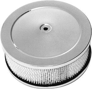 Racing Power Company R2292 Air Cleaner Assembly, 6-3/8 in Round, 2-1/2 in Tall, 5-1/8 in Carb Flange, Raised Base, Steel, Chrome, Kit