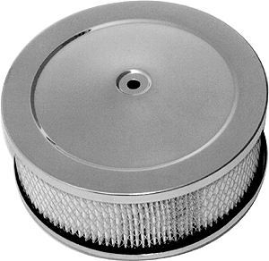 Racing Power Company R2292X Air Cleaner Assembly, 6-3/8 in Round, 2-1/2 in Tall, 5-1/8 in Carb Flange, Raised Base, Steel, Chrome, Kit