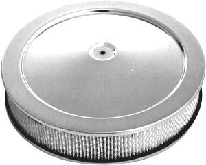 Racing Power Company R2395 Air Cleaner Assembly, 14 in Round, 3 in Tall, 5-1/8 in Carb Flange, Raised Base, Steel, Chrome, Kit