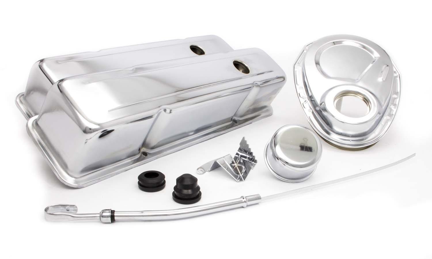 Racing Power Company R3024 Engine Dress Up Kit, Tall Valve Covers / Breather / Dipstick / Grommets / Timing Cover / Timing Tab, Steel, Chrome, Small Block Chevy, Kit