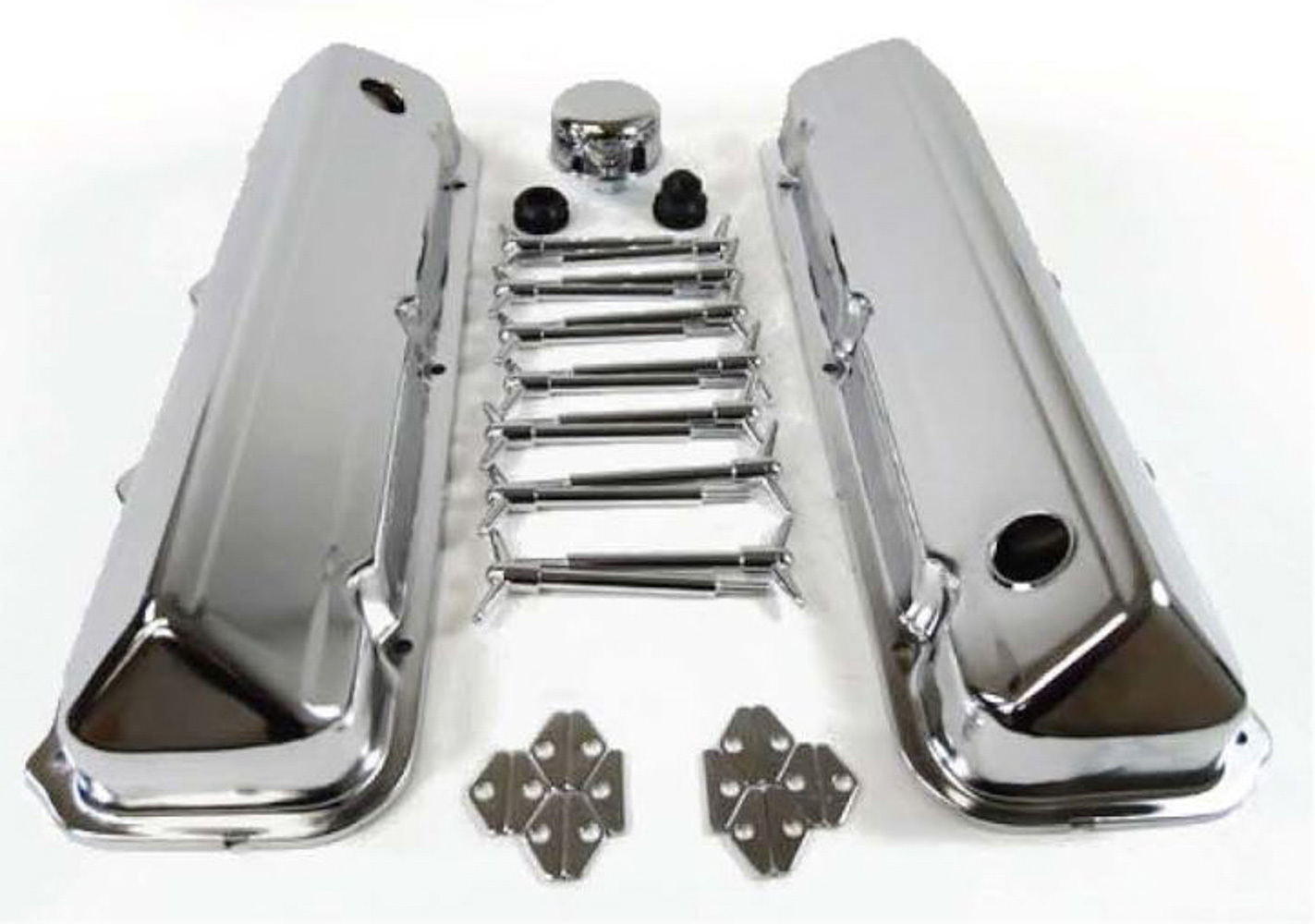Racing Power Company R3041 Engine Dress Up Kit, Breathers / Grommets / Tabs / Valve Covers / Wing Nuts, Steel, Chrome, Big Block Ford, Kit