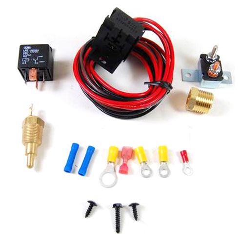 Racing Power Company R3101 Fan Controller, 200 Degree F On, 185 Degree F Off, 1/2 in NPT Thread Temperature Sensor, Harness / Relay, Universal, Kit