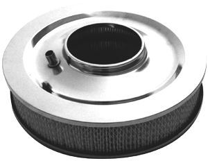 Racing Power Company R3196 Air Cleaner Assembly, 14 in Round, 3 in Element, 5-1/8 in Carb Flange, Flat Base, Stainless, Chrome, Kit