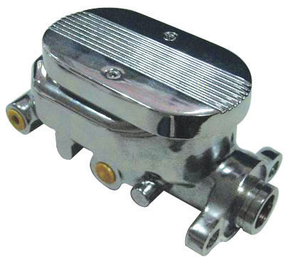 Racing Power Company R3509 Master Cylinder, 1-1/8 in Bore, Integral Reservoir, Finned Top, Aluminum, Chrome, 2-1/2 in Flange Mount, Kit