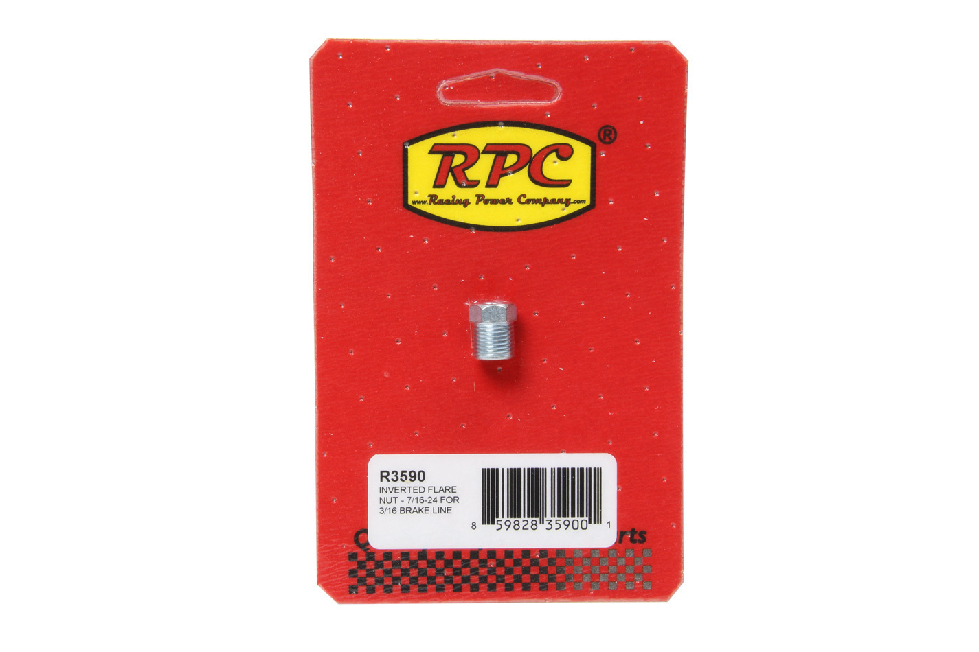 Racing Power Company R3590 Fitting, Flare Nut, 7/16-24 in Inverted Flare Male, Steel, Zinc Oxide, 3/16 in Hardline, Each